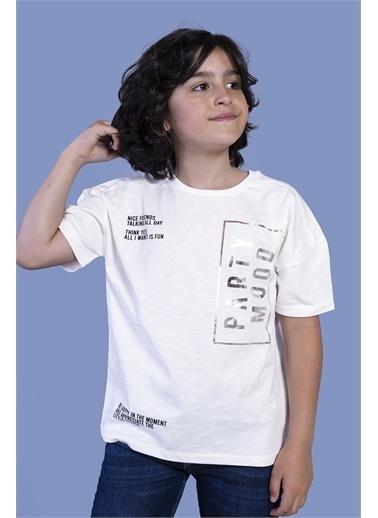 Toontoy Kids Toontoy Erkek Çocuk Düşük Kol Varak Baskılı Tişört Ekru